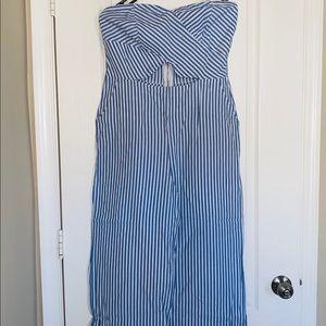 NWOT Blue Striped wide leg jumpsuit